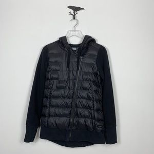 Athleta Black Knit and Puffer Down Jacket